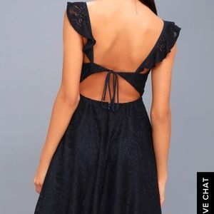 LULUS ADORABLE NAVYBLUE LACE BACKLESS SKATER DRESS